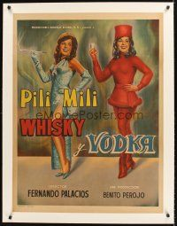 4w006 WHISKY & VODKA linen Mexican poster '65 cool art of sexy sisters Emilia & Pilar Bayona!
