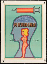 4w031 HEROIN linen Polish 23x33 '69 cool drug art of syringe & naked girl by Andrzej Krajewski!