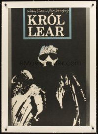 4w039 KROL LEAR linen stage play Polish 27x38 '77 Shakespeare's King Lear, art by Klimowski!