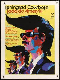 4w040 LENINGRAD COWBOYS GO AMERICA linen Polish 27x38 '94 great wacky Swierzy artwork of band!