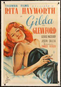 4w009 GILDA linen Spanish '46 different art of sexy smoking Rita Hayworth in sheath dress!