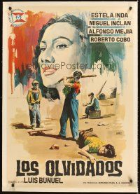 4w010 LOS OLVIDADOS linen Spanish '64 Luis Bunuel masterpiece, Jano art from first Spanish release!