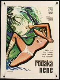 4w008 NENE linen Yugoslavian '77 Slavatore Samperi, great art of mostly naked girl by Ercole Brini!