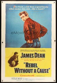 4x002 REBEL WITHOUT A CAUSE style Y 40x60 '55 Nicholas Ray, James Dean - bad boy from a good family!