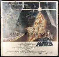 4x196 STAR WARS linen 6sh '77 George Lucas classic sci-fi epic, great art by Tom Jung!