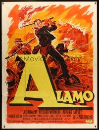 4x034 ALAMO French 1p '60 art of John Wayne in the War of Independence by Roger Soubie!