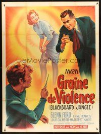 4x037 BLACKBOARD JUNGLE French 1p '55 Richard Brooks classic, great different art by Roger Soubie!