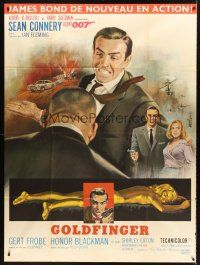 4x041 GOLDFINGER French 1p '64 art of Sean Connery as James Bond 007 by Jean Mascii!