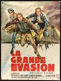 4x042 GREAT ESCAPE French 1p '63 Steve McQueen, Charles Bronson, John Sturges, art by Allard!