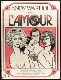 4x047 L'AMOUR French 1p '73 ultra rare Paul Morrissey & Andy Warhol, sexy art by J. David!