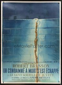 4x259 MAN ESCAPED linen French 1p '56 Robert Bresson, WWII Resistance prison escape, best Colin art!