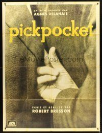 4x053 PICKPOCKET French 1p R90s Robert Bresson, cool image of thief's hand reaching in jacket!