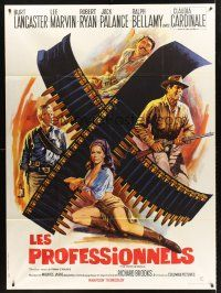 4x055 PROFESSIONALS French 1p R70s Mascii art of Lancaster, Lee Marvin & sexy Claudia Cardinale!