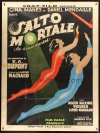 4x060 SALTO MORTALE French 1p '31 E.A. Dupont's trapeze romantic love triangle with, cool art!