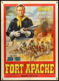 4x076 FORT APACHE Italian 1p R60s different art of John Wayne & Native Americans by Policrom!