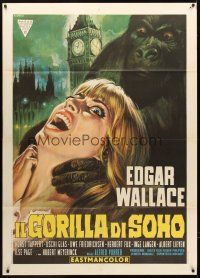 4x078 GORILLA GANG Italian 1p '69 Edgar Wallace, different art of ape attacking girl by Casaro!