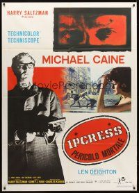 4x080 IPCRESS FILE Italian 1p R67 cool different image of Michael Caine with gun!