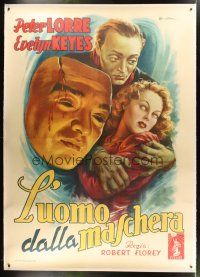 4x284 FACE BEHIND THE MASK linen Italian 2p '48 cool different art of Peter Lorre by Ballester!