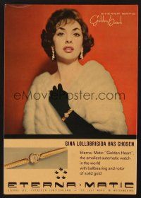 4x009 ETERNA-MATIC standee '58 Gina Lollobrigida has chosen this smallest automatic watch!