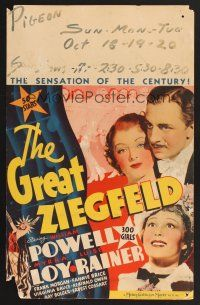 4x015 GREAT ZIEGFELD WC '36 great image of William Powell, Luise Rainer & Myrna Loy!