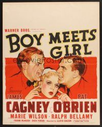 4x004 BOY MEETS GIRL jumbo WC '38 art of Hollywood screenwriters James Cagney & Pat O'Brien!