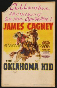 4x016 OKLAHOMA KID WC '39 great artwork of cowboy James Cagney on horseback!