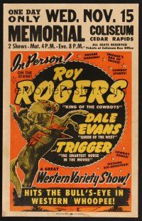 4x017 ROY ROGERS stage show WC '50 hits the bull's-eye in western whoopee in person with Trigger!