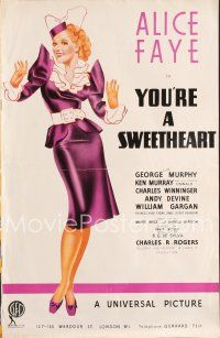 4x030 YOU'RE A SWEETHEART English pressbook '37 sexy full-length George Petty art of Alice Faye!