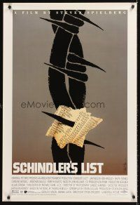 4y255 SCHINDLER'S LIST 1sh '93 Steven Spielberg, Neeson, different art by Saul Bass, very rare!