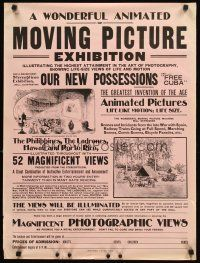 4y243 WONDERFUL ANIMATED OR MOVING PICTURE EXHIBITION special 21x28 c1890s Optigraph festival!