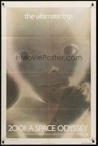 4z010 2001: A SPACE ODYSSEY teaser 1sh R74 Stanley Kubrick, super close image of star child!