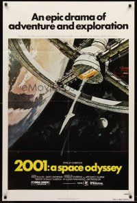 4z009 2001: A SPACE ODYSSEY 1sh R80 Stanley Kubrick, art of space wheel by Bob McCall!