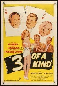 4z011 3 OF A KIND 1sh R40s Shemp Howard, Billy Gilbert, Maxie Rosenbloom, cool playing card design!