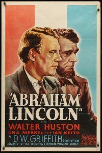4z021 ABRAHAM LINCOLN 1sh R37 Walter Huston in the title role, D.W. Griffith directed!