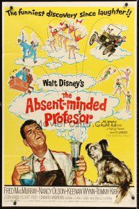4z022 ABSENT-MINDED PROFESSOR 1sh R67 Walt Disney, Flubber, Fred MacMurray in title role!