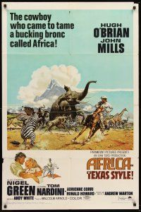 4z026 AFRICA - TEXAS STYLE 1sh '67 art of Hugh O'Brien roping zebra by stampeding animals!