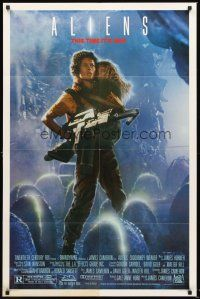 4z038 ALIENS Ripley style 1sh '86 James Cameron, really cool image of Sigourney Weaver & Carrie Henn