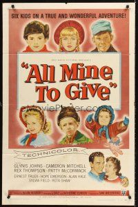 4z040 ALL MINE TO GIVE 1sh '57 Glynis Johns, Cameron Mitchell, great artwork of children!