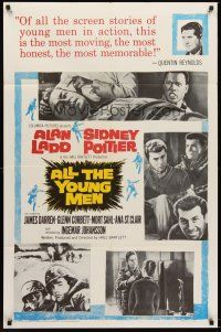 4z041 ALL THE YOUNG MEN 1sh '60 Alan Ladd & Sidney Poitier deal with race relations in Korean War!