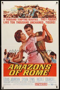 4z045 AMAZONS OF ROME 1sh '63 Louis Jourdan, they fought like 10,000 unchained tigers!