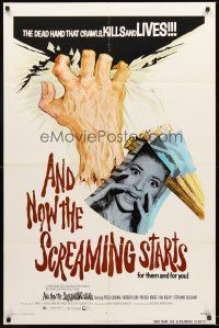 4z050 AND NOW THE SCREAMING STARTS 1sh '73 sexy terrified girl & art of severed hand!