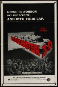 4z053 ANDY WARHOL'S FRANKENSTEIN 1sh R80s cool 3D art of near-naked girl coming off screen!