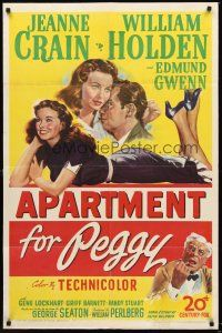 4z057 APARTMENT FOR PEGGY 1sh '48 romantic art of sexy Jeanne Crain & William Holden!