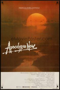 4z058 APOCALYPSE NOW advance 1sh '79 Francis Ford Coppola, cool art of helicopters over river!