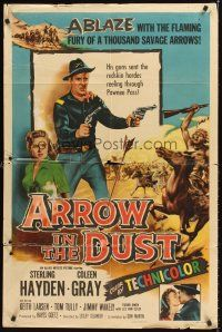4z061 ARROW IN THE DUST 1sh '54 tough double-fisted Sterling Hayden, pretty Coleen Gray