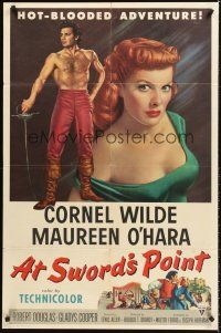 4z063 AT SWORD'S POINT 1sh '52 full-length Cornel Wilde, super close up of sexy Maureen O'Hara!