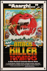 4z065 ATTACK OF THE KILLER TOMATOES 1sh '79 wacky monster artwork by David Weisman!