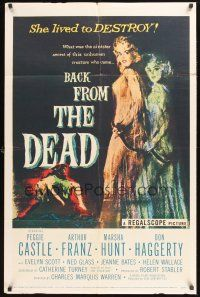 4z068 BACK FROM THE DEAD 1sh '57 Peggie Castle lived to destroy, cool sexy horror art & image!