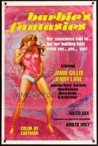 4z074 BARBIE'S FANTASIES 1sh '74 her conscience said no, but her budding body cried yes, yes, yes!