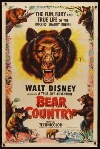 4z080 BEAR COUNTRY style A 1sh '53 Disney True-Life Adventure, cool bear artwork!